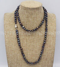 Genuine Natural 7-8mm Black Baroque Pearl beads Necklace Silver Clasp 14-36''AAA