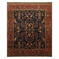 """8'3"""" x 10'10"""" Hand Knotted Wool Indo Saroukk Traditional Oriental Area Rug Navy"""