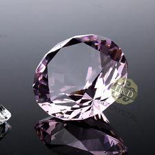 Pink Glass Crystal Paperweight Diamond Jewel Wedding Decoration Display Gift