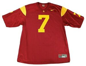 Nike Authentic USC Trojans 7 Jersey Red Yellow Shirt Size Large Football