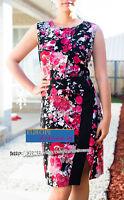 BNWT RRP$189 JANE LAMERTON Petites CURRENT Floral Dress Size 14 Black