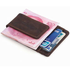 Stylish Men Casual Credit Card Holder Leather Wallet With Magnetic Money Clip
