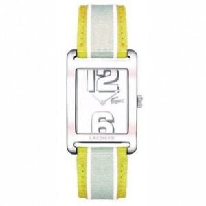 Lacoste 2000694 Andorra Yellow Grey Cloth Leather Strap Rectangular Watch
