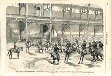 Paris Palais de l'Industrie Champs-Elysées Carrousel Ecuyers Ecole  GRAVURE 1866