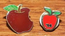 *Set of 2* Small Red Apples Gold Trim Collectible Pins / Brooches- '94 B.J.C