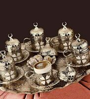 27 ct Turkish Greek Arabic Coffee Espresso Serving Cup Saucer Gift Set (SILVER)