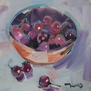 JOSE TRUJILLO Oil Painting IMPRESSIONISM CHERRIES IN A BOWL COLLECTIBLE ARTWORK