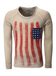 Key Largo Pullover Sweatshirt Longsleeve Pulli Shirt Langarm grau braun S M L XL