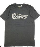 $95 Polo Ralph Lauren Mens Gray White Fire Wheel Logo Crew Neck T Shirt Tee M