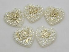 50 Ivory Acrylic Pearl Flatback Heart Cabochons with Sparkling Gold Flower 18mm