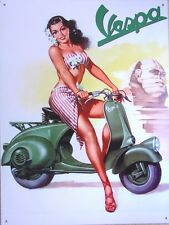 """REPRODUCTION OF A  GLAMOUR VINTAGE METAL  ADVERTISING SIGN FOR  """" VESPA MOPEDS """""""