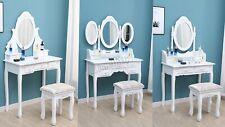 WestWood Dressing Table Set With Stool Drawers Mirror Jewelry Makeup Desk Wood