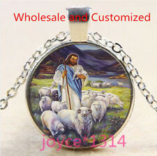 Vintage Saint Jesus Cabochon Tibetan silver Glass Chain Pendant Necklace #5069