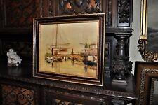 Lovely Vintage Harbor scene oil on canvas