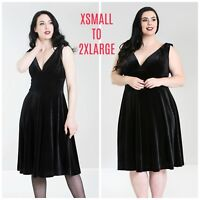 Hell Bunny Melina Dress X-Small - 2X-Large Plus Black Velvet Goth PinUp Burly