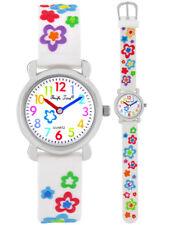 Armbanduhren Kinder Mädchen Kinderuhr weiß Lernuhr Armband Uhr Blumen weiß neu