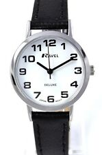 Ravel Ladies Clear Face Deluxe Watch, BIG Numbers & GENUINE LEATHER Black Strap