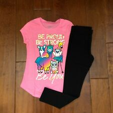 NWT JUSTICE GIRLS 8 OUTFIT ~ PINK JUSTICE FRIENDS TEE / BLACK LEGGINGS