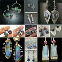 Women Antique 925 Silver Turquoise Drop Dangle Hook Earrings Vintage Jewelry