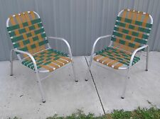 VTG matching Pair Aluminum Porch Patio Lawn Chairs Green and Gold Webbing