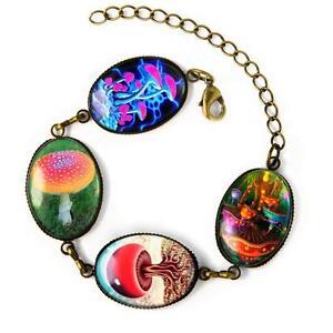 Handmade Magic Mushroom Psychedelic LSD Drug Trip Fantasy Bronze Charm Bracelet