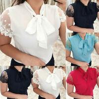 Women Summer Work Office Lace Patchwor Bow Tie Short Sleeve Chiffon Shirt Blouse
