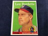 D4-98 BASEBALL CARD - LEW BURDETTE MILWAUKEE BRAVES -1958 TOPPS -CARD #10