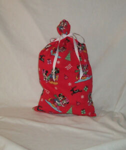 Mickey Mouse Christmas Design Homemade Fabric Gift Bag with Attached Ribbon