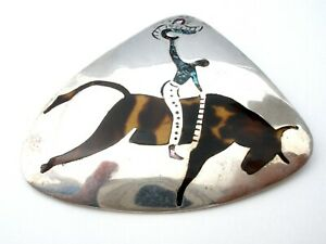 Taxco Cowboy Bull Riding Pendant Brooch Sterling Silver Ablalone Shell Vintage W