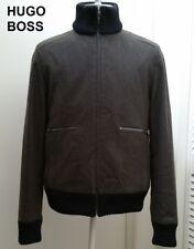 New HUGO BOSS wool cashmere bomber jacket olive green military coat high neck M