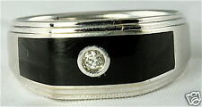 MENS 10K WHITE GOLD ONYX DIAMOND IBG I B GOODMAN RING