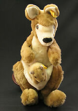 OLD GERMAN GERMANY STEIFF LOVELY PLUSH TOY KANGAROO WITH BABY BUTTON TAG EAR x