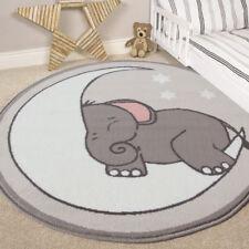 Trendy Colourful Fun Kids Playroom Bedroom Nursery Creche Rug Boy Girls Mat Rugs 120x120cm (4x4') Grey Elephant