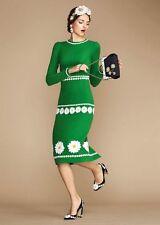 NWT DOLCE&GABBANA Daisy Embroidered Green Dress  38/2