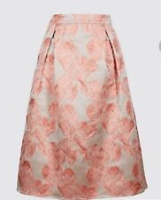 M&S pink mix jacquard floral print midi pocket skirt, Size 8 NWT RRP £49.50