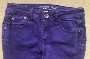 GIRLS JUSTICE PURPLE SKINNY JEANS LOW RISE TAG 12 R  26 X 27