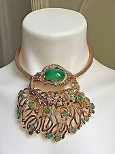 Vintage Panetta Statement Couture Necklace Chocker Jade Glass Gold Plated 1980's