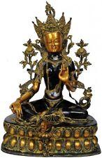 "Antique Black Finish Handcrafted Buddha Goddess Green Tara Large Statue 34"""