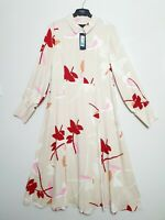 M&S Cream Midi Shirt Dress with Red Floral pattern Long Sleeves (Size 14 22 24)