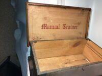 Vintage Converse Manual Trainer No.972-C Wood Shoebox Antique Hinged Wooden Box
