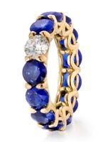 6Ct Round Cut Blue Sapphire Diamond Eternity Wedding Band 14K Yellow Gold Finish