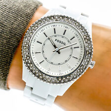 Fossil Womans Watch ES2444 Double Row CZ Crystal Bezel White Resin 50m Working