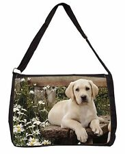Yellow Labrador Puppy Large Black Laptop Shoulder Bag School/College, AD-L71SB
