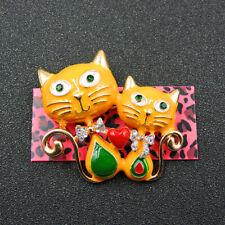 Cat Crystal Charm Brooch Pin Gift New Betsey Johnson Cute Yellow Heart