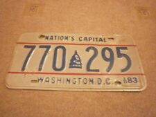 AMERICAN WASHINGTON DC NATIONS CAPITAL GRAPHIC 1983 # 770-295 RARE NUMBER PLATE