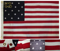 2x3 15 Star Spangled Banner Premium 100% Cotton Flag 2'x3' Grommets 2 Clips