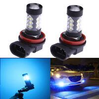 2Pcs 80W Super Blue High power 8000K LED Fog Driving Light DRL Bulb H11 H8 H9