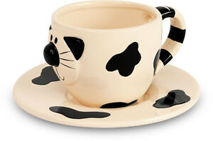 2Kewt Cat Ceramic Coffee Cup and Saucer Set of 2