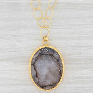 "New Nina Nguyen Druzy Quartz Agate Pendant Necklace 20"" Sterling Silver 22k Gold"