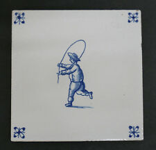 Vintage Dutch Tile Boy Jumping Rope  Alphen aan den Rijn Holland